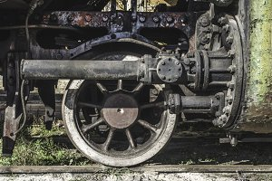 Details of an old steam locomotive