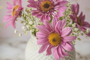 Pink Daisies in MilkGlass Vase