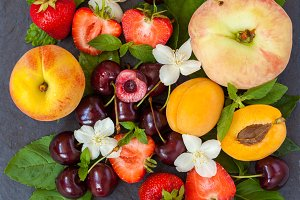 fruits on slate