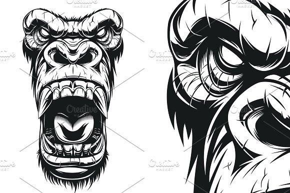 Gorilla Face Line Drawing : Gorilla head graphic designtube creative design content