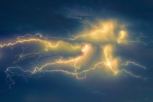 Thunder lightnings and storm