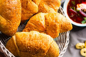 Savory croissants with sesame seeds