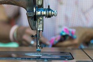 Sewing machine on fashion designer