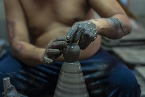 Closeup hands of a potter