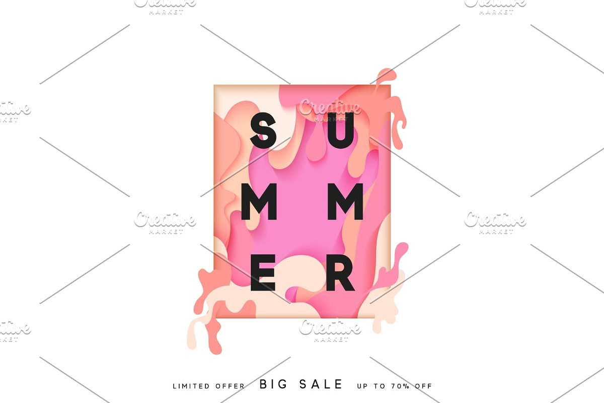 Bright summer background in the style of paper vague paint