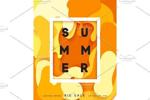 Bright summer background in the style of paper vague paint in Objects