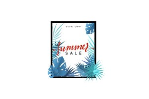 Summer design frame layout. Poster sale with palm branches.