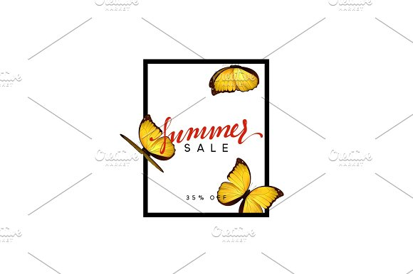 Summer Design Frame Layout Poster Sale With Beautiful Elegant Butterflies