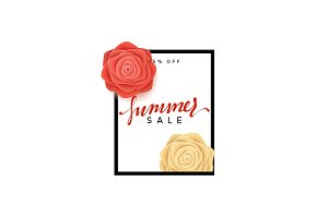 Summer sale banner. Flowers beautiful roses in the style of paper art illustration