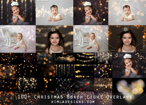 100 Christmas Gold Bokeh Overlays