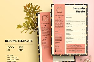 Gold heart CV / Resume Template / N