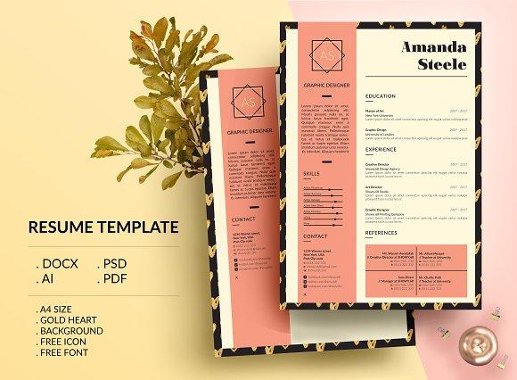 Gold Heart CV Resume Template N