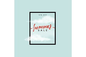Summer sale design frame. Poster with a cloud on a blue background