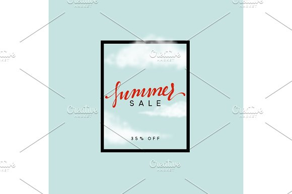 Summer Sale Design Frame Poster With A Cloud On A Blue Background