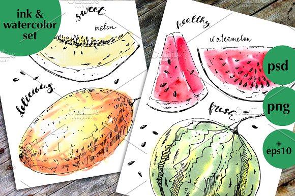 Ink And Watercolor Fruits 2