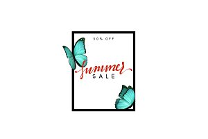 Summer design frame layout. Poster sale with beautiful elegant butterflies