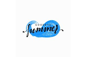 Goodbye summer, design blue water, sea wave with text
