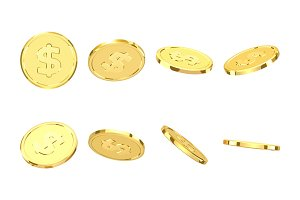 Golden coins. Realistic gold money isolated on white background