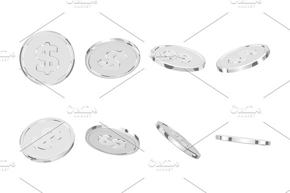 Silver Coins Realistic Silver Money Isolated On White Background