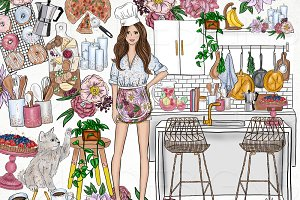 Fashion Girl Food Chef Clip Art