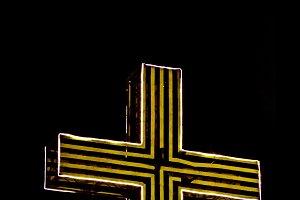 Neon Christian Cross Isolated