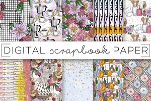 Foodie Kitchen Floral Digital Papers