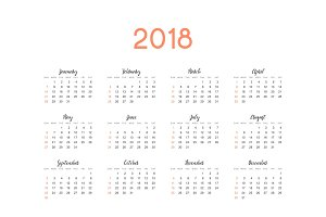 Calendar for 2018 English simple on white background vector illustration