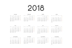 Calendar for 2018 germany simple on white background vector illustration