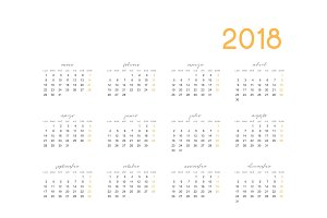 Simple template for printing modern calendar 2018 in Spanish. Week starts from Monday