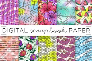 Bright Neon Florals Digital Papers