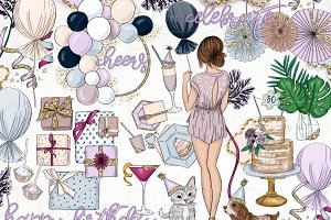 Fashion Girl Party Birthday Clip Art