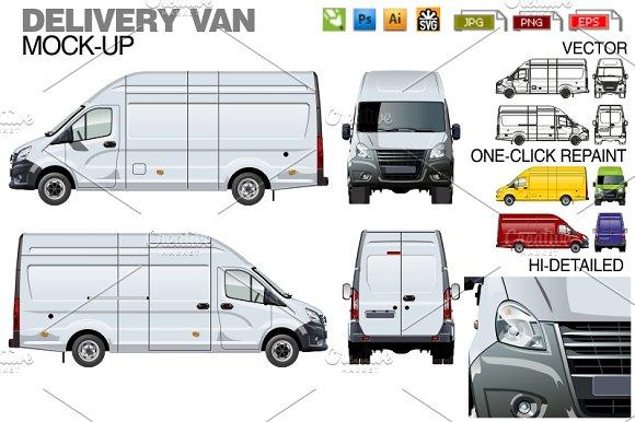 Delivery Cargo Van Mockup