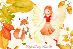 Autumn fairy clipart