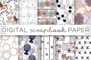 Blue Lavender Party Digital Papers
