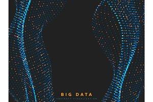 Big data background. Information streams system vector illustration