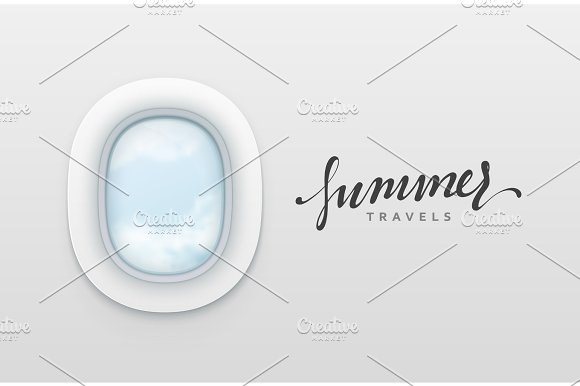 Summer Travels Design Banners Realistic Portholes Of Airplane White Window Aircraft Vector Illustration