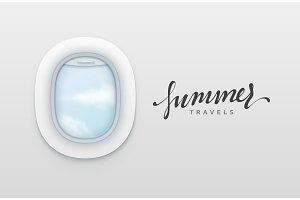 Summer travels design banners. Realistic portholes of airplane. White window aircraft vector illustration.