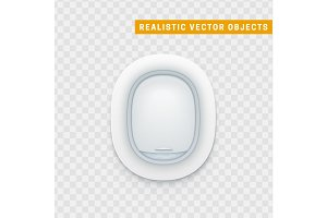 Realistic portholes of airplane. White window aircraft vector illustration.
