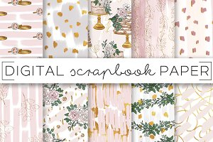 Pastel Wedding Gold Digital Papers