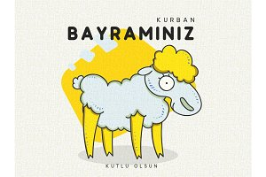 Greeting card design with cute amusing Sheep for Muslim culture.