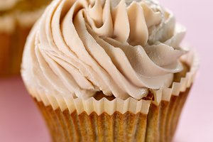 Closeup Tasty Cupcake Pink Table