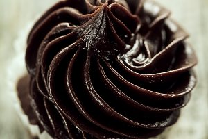 Closeup Tasty Cupcake Dark Choco