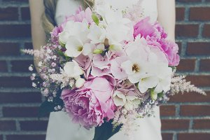 Closeup of beautiful bride bouquet