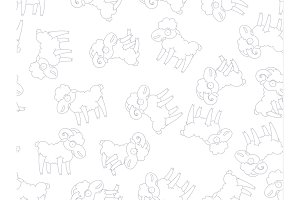 Pattern seamless funny cartoon, sheep, ram, goat