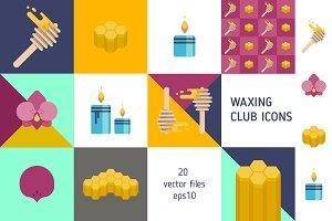 Wax club vector icons