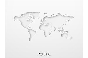 World map detailed design of white color cut from paper