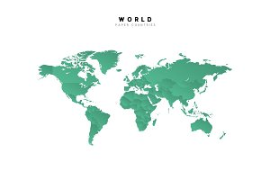 Detailed world map of green color isolated vector illustration