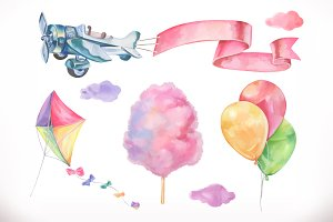 Watercolor air. Vector icon set