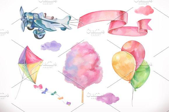Watercolor Air Vector Icon Set