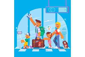 Young family. Father mother, son and daughter at the airport. Vector illustration